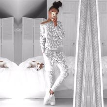 OMSJ 2018 Otoño Invierno moda mujer conjunto ropa Casual mujer sudadera + Pantalones 2 piezas chándal sudadera Casual cálido traje