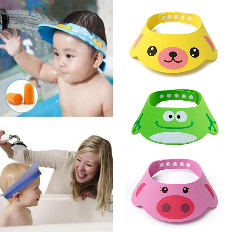 New Kids Bath Visor Hat,Adjustable Baby Shower Cap Protect Shampoo, Hair Wash Shield for Children Infant Waterproof Cap#256643