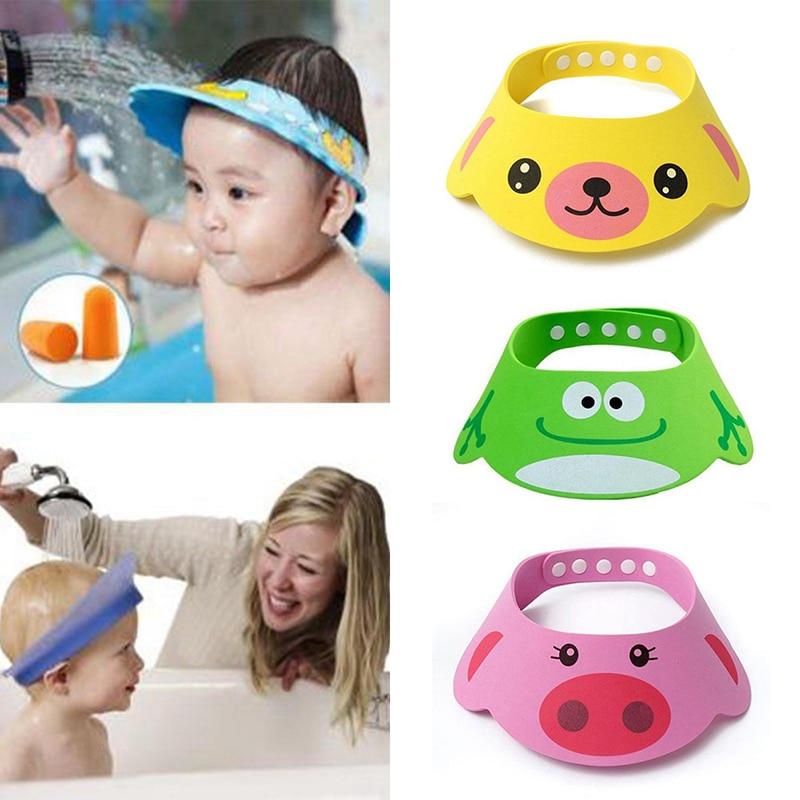 Новая детская шапка с козырьком для ванны, Регулируемая Шапочка для детского душа, защита шампуня, щит для мытья волос для детей, водонепрон...