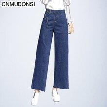 8ed52e3572a9 Das mulheres Denim Causais Calças Soltas Perna Larga Calça Jeans com Cinto  de Verão Moda Tornozelo-Comprimento Do Vintage Femini.