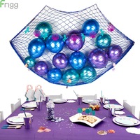 17Pcs Mermaid Party Balloons Latex Metallic Balloon Baby Shower Blue Net Backdrop Supplies Birthday Party Decorations For Kids