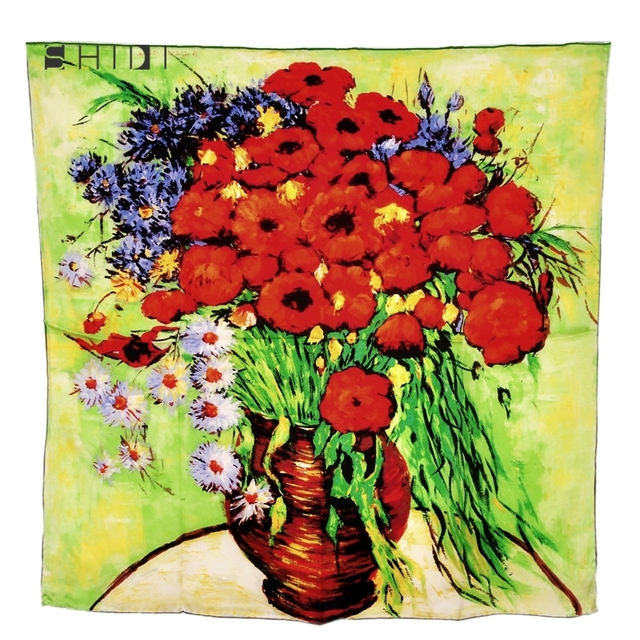Women Floral Pure Silk Scarves Van Gogh Vase With Daisies And