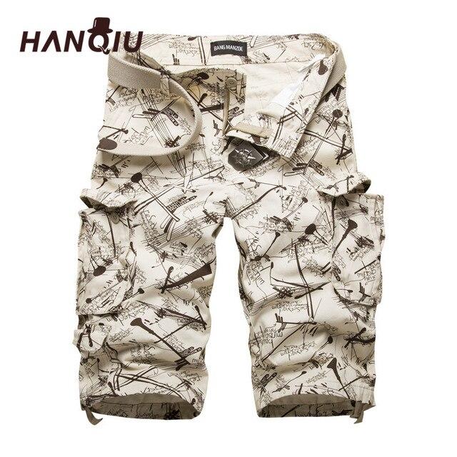2020 yaz pamuk Mens kargo şort moda kamuflaj erkek şort çok cep rahat Camo açık havada Tolling Homme kısa pantolon