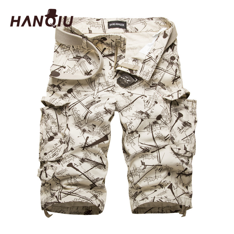 HANQIU Bomullsshorts Fodral Shorts Mode Camouflage Mäns Shorts Multi-Pocket Casual Camo Outdoors Tolling Homme Short Pants