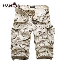 HANQIU Cotton Mens Cargo Shorts Fashion Camouflage Male Shorts Multi-Pocket Casual Camo Outdoors Tolling Homme Short Pants(China)
