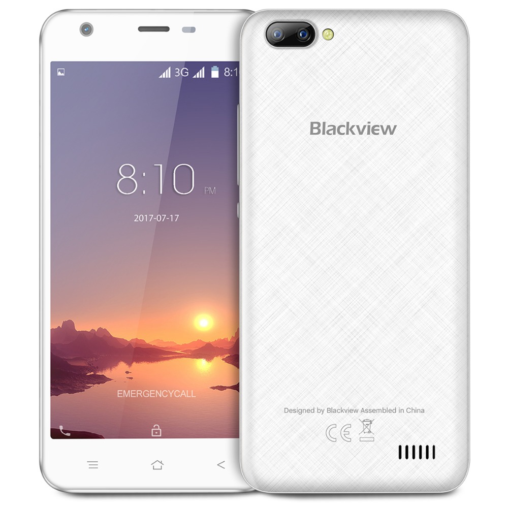 New Blackview A7 Dual camera in the back 5.0inch MTK6580 Quad Core Smartphone 1GB RAM 8GB ROM 2500mAH Mobile Phone in stock