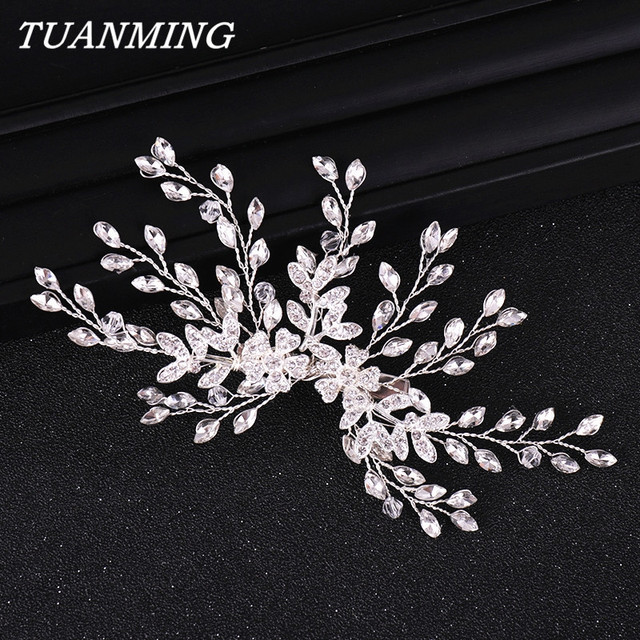 Rhinestone Hair Clips Bridal Head Ornaments Handmade Rhinestones Flower Wedding Hair Clip Barrettes Bridal Headpiece Accessories