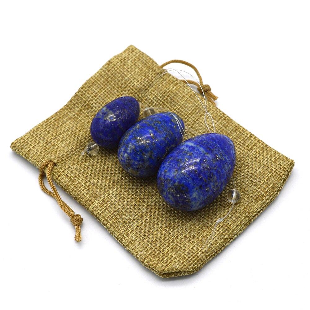One Set Lapis Lazuli Yoni Egg Natural Drilled Jade Eggs Pelvic Muscle Kegel Exercise Massager