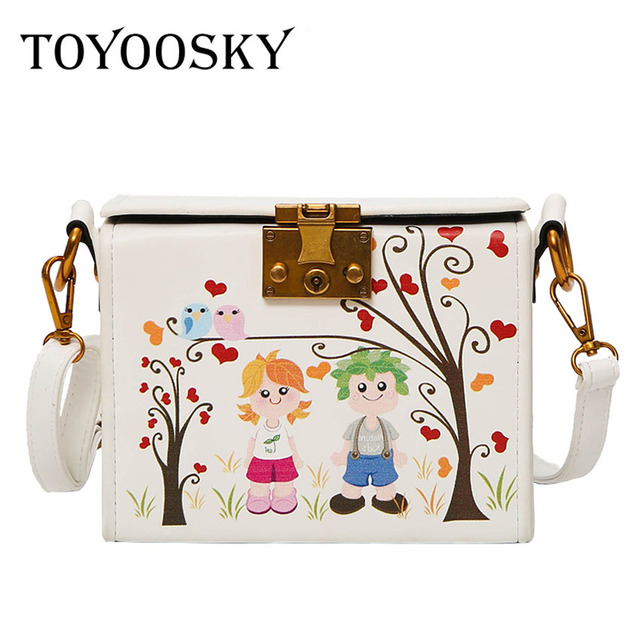 8e83a583a9d2 TOYOOSKY Women Handbags Designer Brands Print Cartoon Box Bags Classic  Women Square Shoulder Bags Ladies Messenger