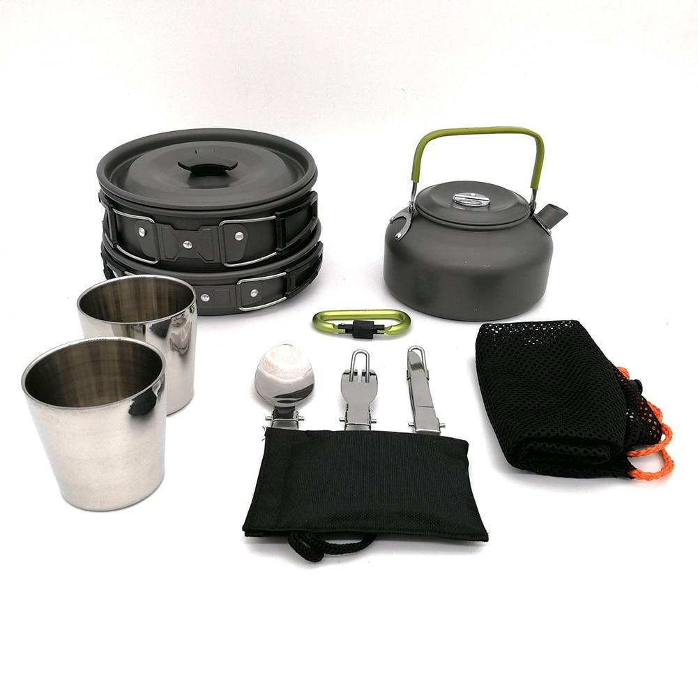 Antiadhésif pratique cuisson Set ustensiles de cuisine pique-nique casserole Pot Portable Camping tasse fourchette extérieur cuillère vaisselle en aluminium oxydé