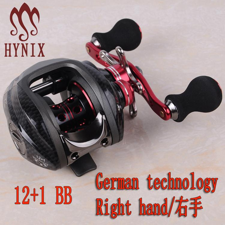 ФОТО hynix Brand Bait casting Reel water drop wheel 12+1 Ball Bearings 215g Double Brake System Right Hand Bait Casting Fishing Reel