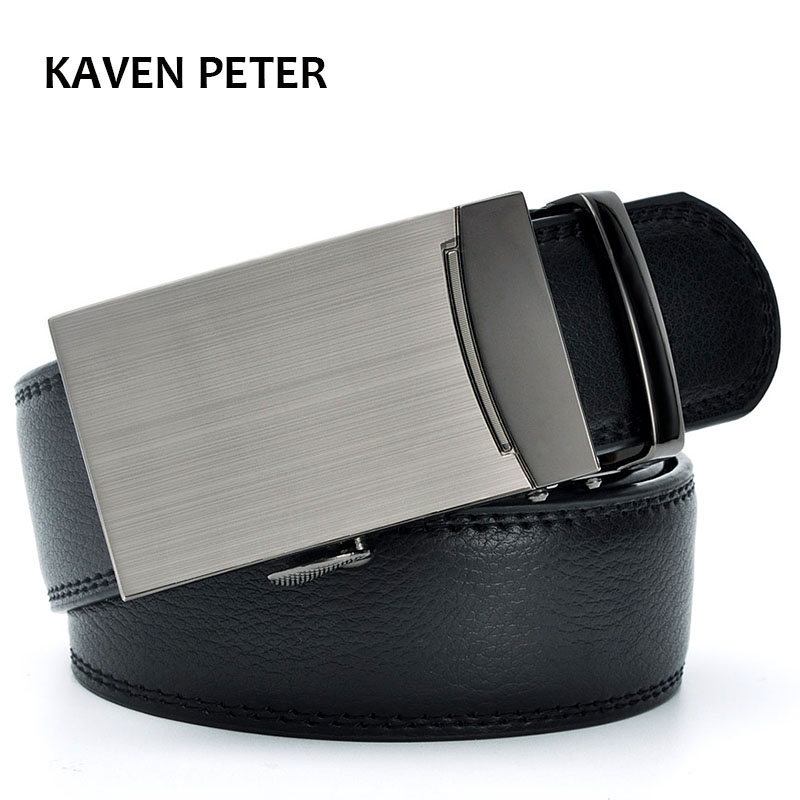 Genuine Cow Leather Automatic Belt For Men Formal Automatic Belt Buckle 2016 Genuine Leather Mens With Litchi Pattern Strap