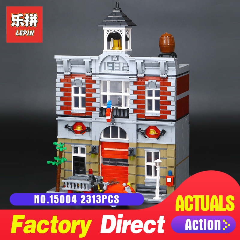 lepin 15004 2313Pcs City Street Creator Fire Brigade Model Building Blocks Bricks Compatible LegoINGs 10197 for children toy lepin 15004 2313pcs city creator fire brigade model kits figures street building blocks bricks compatible toys gift 10197