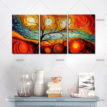 Abstract Oil Painting Modern HandPainted Wall Art home Decoration For Living Room hotel 3pcs Set Red Heart Tree abstract Picture