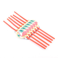 6pcs/lot Flamingo Party Dinnerware Set Disposable Straws Decoration Kids Birthday Summer Hawaiian Supplies Supplier