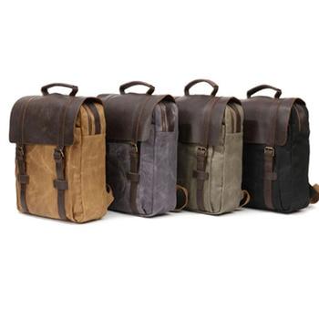 Casual Men Canvas Backpack Mens Vintage Student School Bag Pack Big Capacity Laptop Rucksack Retro Travel black