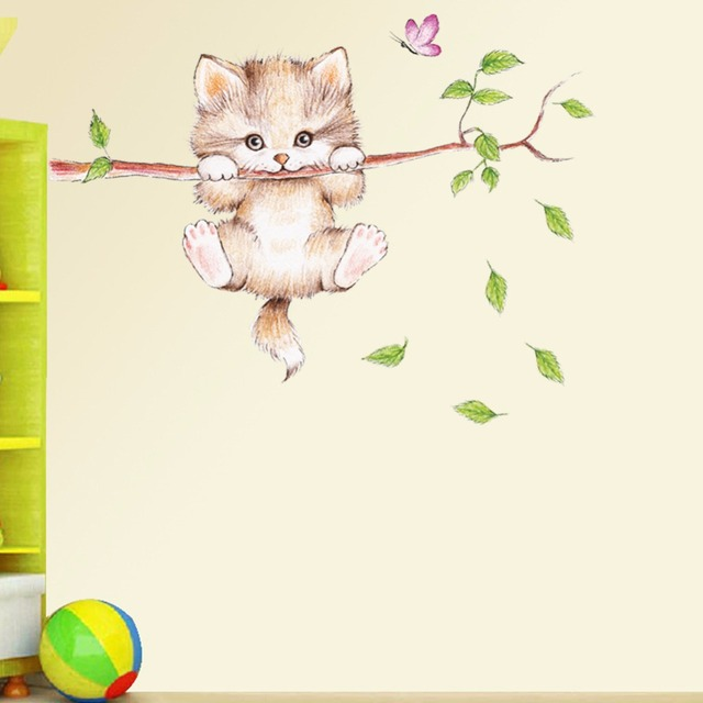 ZOOYOOCute cat hanging on a branch chasing a child bedroom home wall sticker decorated butterfly game label cartoon applique DIY