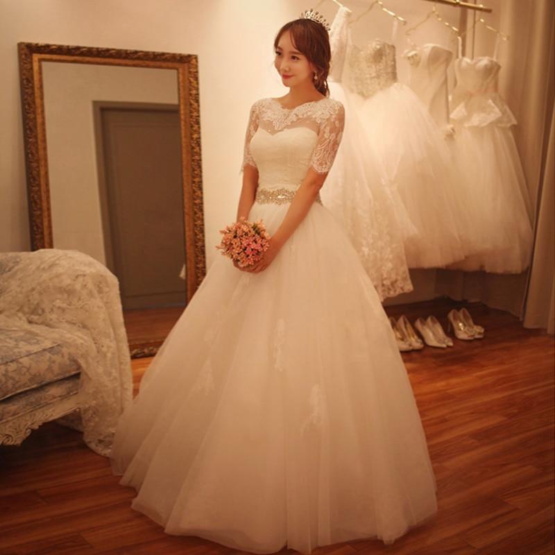 2015 moda media manga de encaje vestido a line vestidos de novia