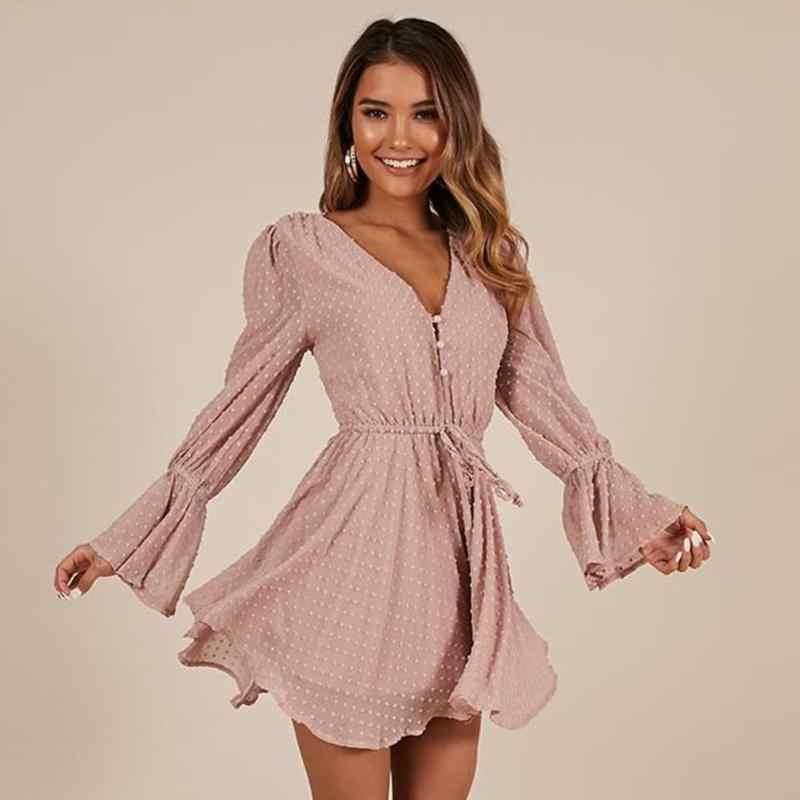 Sexy Ladies Large Size Solid Color Long Sleeve Jumpsuit Women High Waist Loose Bodysuit Tunic V-neck Chiffon Playsuits