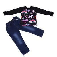 2 cái/bộ Bé Gái Mùa Thu Quần Áo Set Cartoon Unicorn In Ruffle Ren Dài Tay Áo T-shirt + Quần Jean Legging quần Trẻ Em Trang Phục