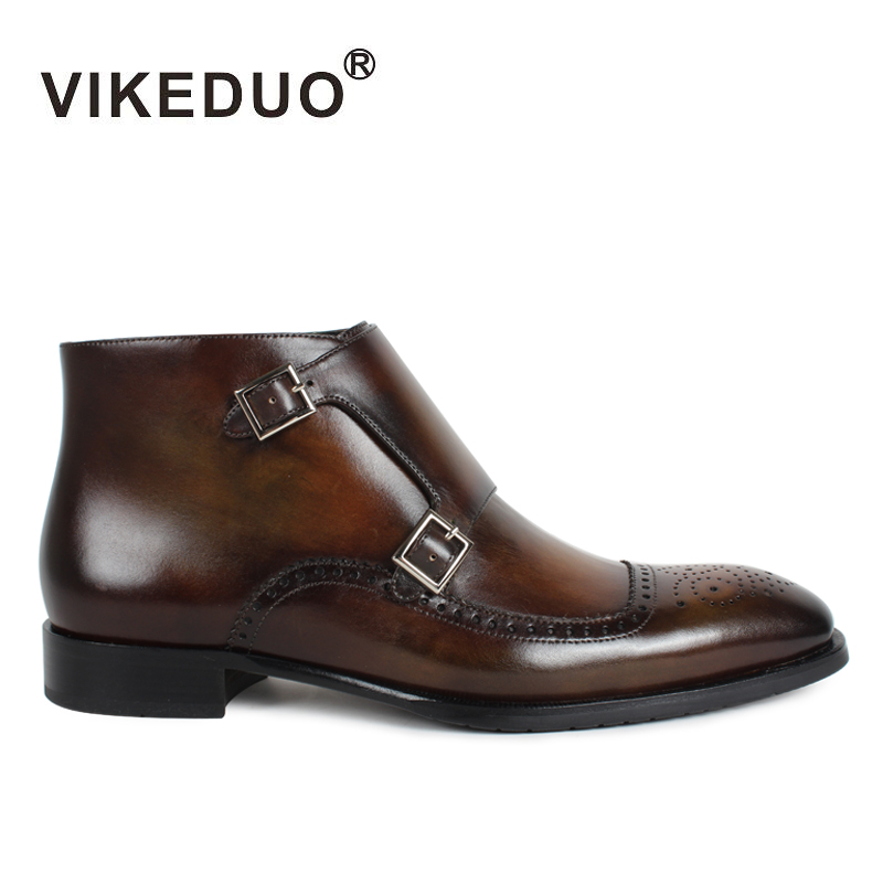 Vikeduo Classic Boots Men 2018 Patina Bespoke Ankle Boot Genuine Leather Handmade Brogue Monk Shoes Autumn