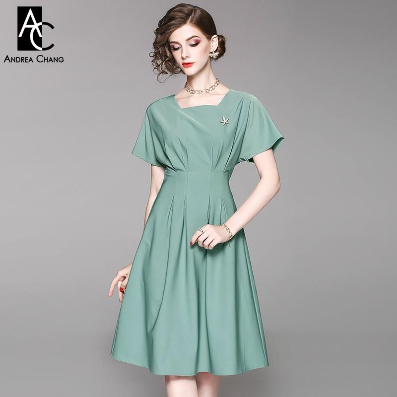 Printemps été femme robe feuille forme perles broche jaune vert robe de bal col carré mode vintage genou longueur robe