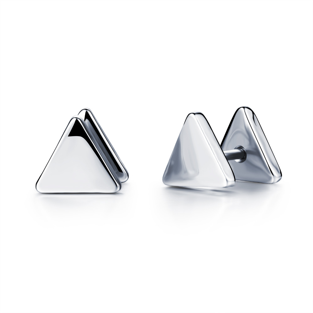 OPK Personality Triangle Mans Stud Earring Fashion Stainless Steel Vintage Men Jewelry Cheap Price Allergy Free GE321