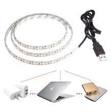 USB 5 V LED Strip 5050 TV Achtergrond Verlichting 50 cm/1 m/2 m 60 LEDs/m Warm Wit/Wit Usb-kabel met Schakelaar Strip set