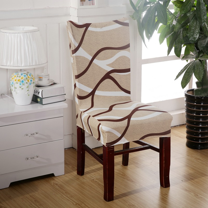 Brown Curve Chair Covers Cheap Jacquard Stretch For Dining Room Decoration Short Half Machine