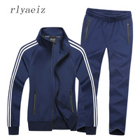 Rlyaeiz 2017 New Sportswear Men Spring Autumn Set Mens Tracksuit Striped Hoodies Pants Men Casual Sporting