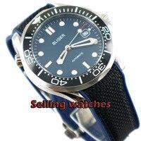 41mm bliger azul mostrador Luminoso de cerâmica de Vidro moldura de Safira data Mecânico automático mens relógio de Pulso Automático Dos Homens|Relógios mecânicos| |  -
