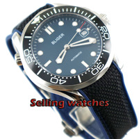 41mm bliger  blue dial Luminous ceramic bezel Sapphire Glass Men's Automatic Wristwatches date Mechanical automatic mens watch