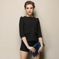 European Style Good Quality Fashion Office Lady Career Clothing Set Women S Brand Designer Black Top