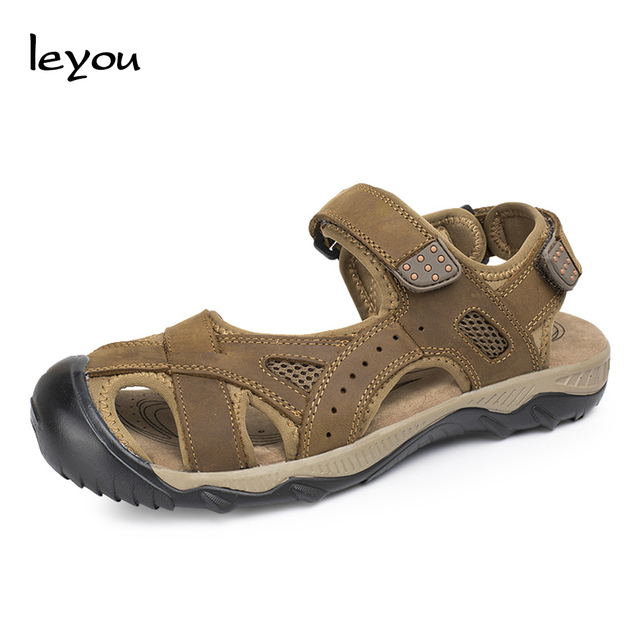 Leyou Men Plus Size Sandals Flat Closed Toe Shoes Summer Men Sandals Genuine Leather Beach Shoes Anti Slip