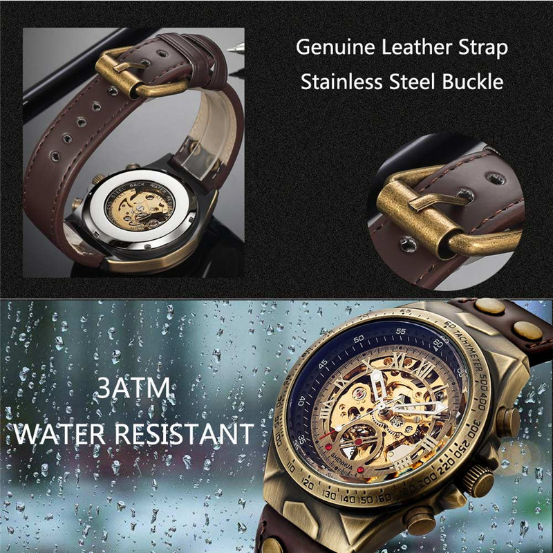 HTB1jj 2Xh2rK1RkSnhJq6ykdpXam Men Watch Skeleton Automatic Mechanical Male Clock Top Brand Luxury Retro Bronze Sport Military Wristwatch relogio Masculino