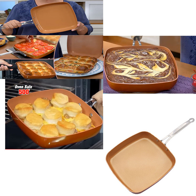Nonstick Skillet with Ceramic Pot Copper Frying Pan Copper Saucepan Oven Cookware Non-Stick Frying Red Pans