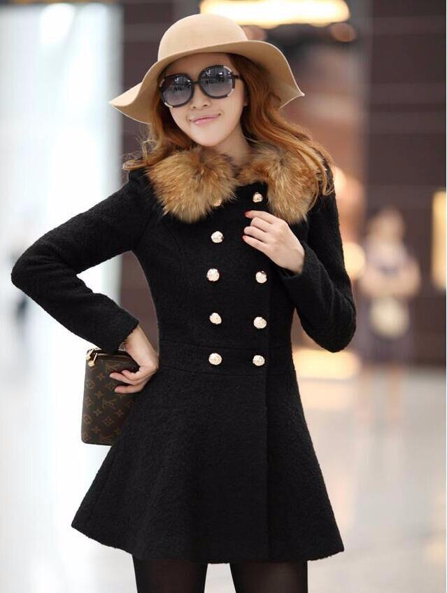 Fur Collar Long Coat Women Winter Wool Jacket Trench Parka Outwear Overcoat SIZE