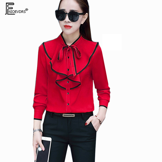 f5fa409b5ab 3 Colors Chiffon Shirts Blouses Spring Hot Sales Women Fashion Long Sleeve  Casual Red Black Cute Bow Chiffon Ruffled Tops 10016