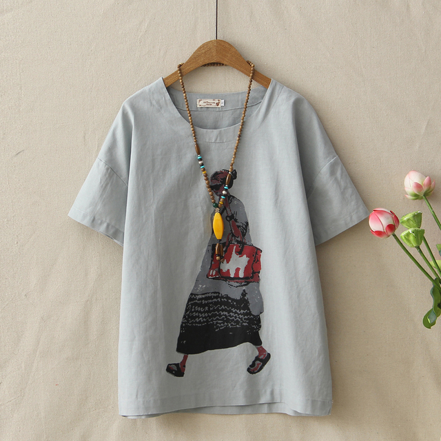 5f2a059ac2 Summer Woman Cotton T-shirt Loose Casual Round Neck Short Sleeve Character Printed  Tops Female Comfort Linen Tee Shirts Femme