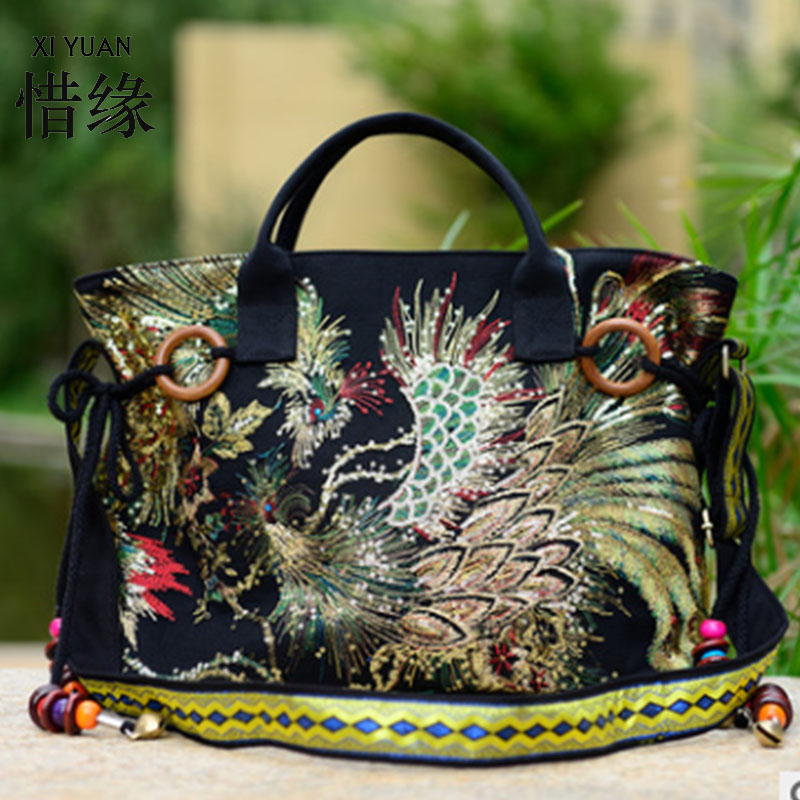 XIYUAN BRAND chinese women embroidery bag embroidered handbags ethnic with beads,womans floral shoulder embroidered handbags simple women s dolman sleeves floral embroidered dress