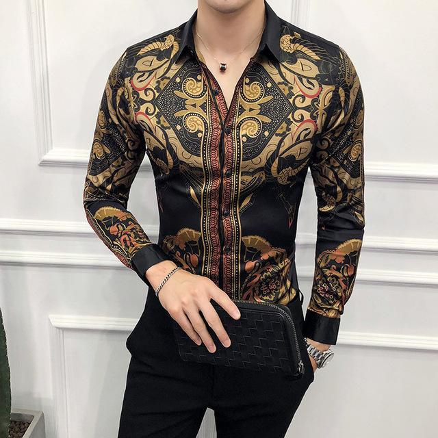 Men Luxury Gold Black Shirt Slim Fit Long Sleeve
