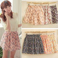 Women Summer Retro Chiffon Floral Short Mini Dress Skirt Pleated Elastic Waist