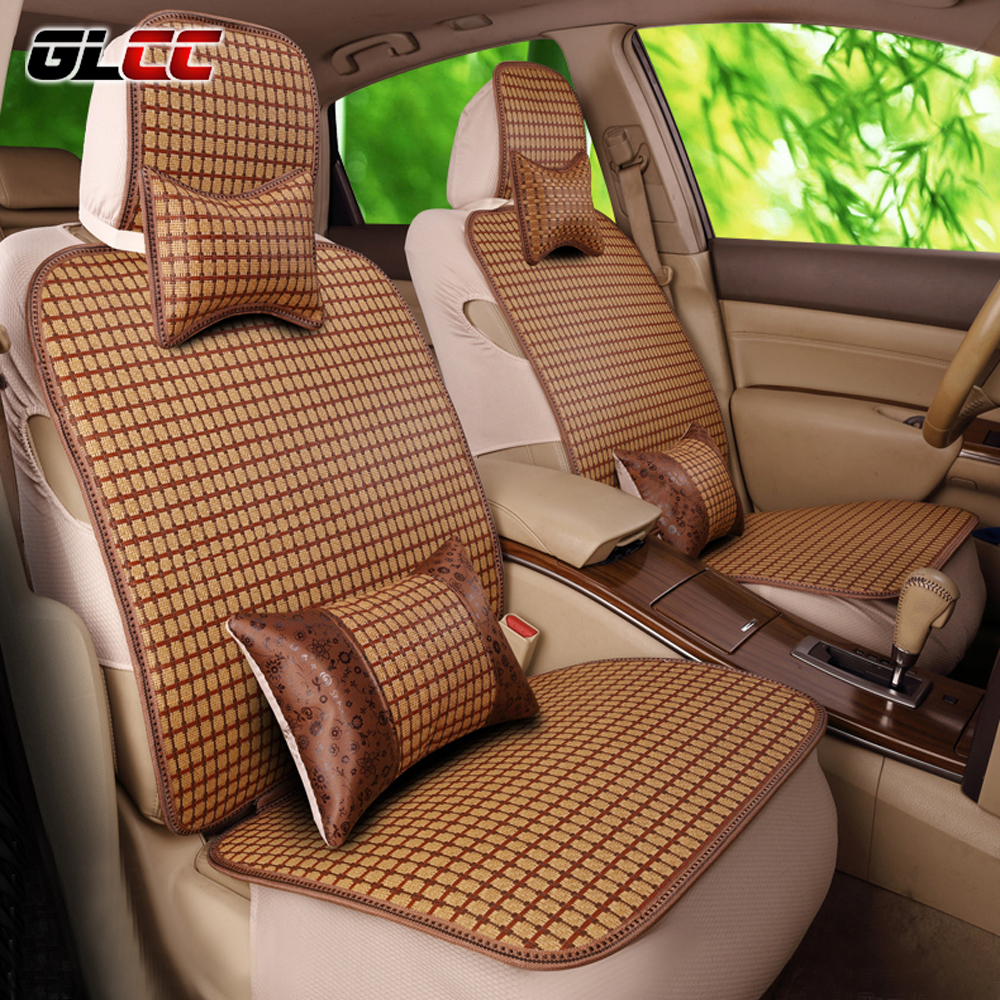 GLCC 2017 NEW DESIGN Car Bamboo Seat Cover Set Universal Fit 5 Seats Summer Cool Auto Covers Interior Accessories Coffee Color kkysyelva universal leather car seat cover set for toyota skoda auto driver seat cushion interior accessories