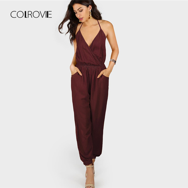 ad0b31905013 COLROVIE Burgundy V Neck Wrap Surplice Backless Halter Sexy Jumpsuit 2018  Autumn Solid Mid Waist Sleeveless OL Women Jumpsuits