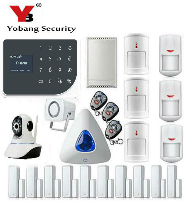 YobangSecurity Wireless WIFI GSM Home Burglar Security Alarm Touch Keyboard Video IP Camera Sensor kit English,Russian,Spanish wireless sim gsm home rfid burglar security lcd touch keyboard wifi gsm alarm system sensor kit english russian spanish french