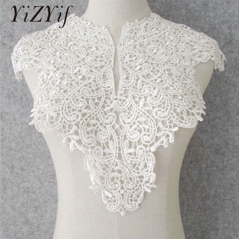 YiZYiF 2pcs/Set White Embroidered Lace Patches for Wedding Dress Applique Collar Decor For DIY Craft Sewing Bridal Decorating