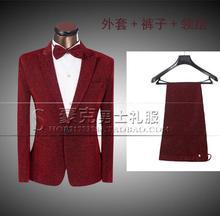 Red 2017 new arrival brand-clothing men slim fit suits set with pants mens suits groom wedding dress formal suit + pant + tie