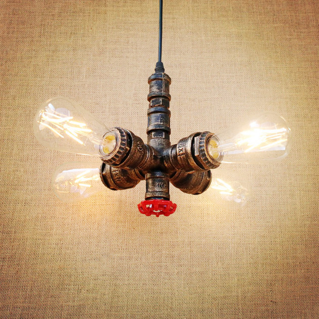 Retro Style Loft Industrial Lighting Fixtures Lampen Water Pipe Pendant  Lamp Rustic Vintage Light LED Edison