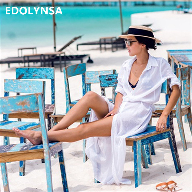 цена на New Arrivals Beach Cover up Solid Chiffon Swimwear Ladies Walk on The Beach Sexy Beach Cover up Saida de Praia Beach Wear #Q80
