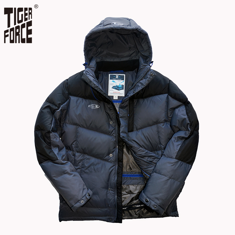 TIGER FORCE Men Fashion Down Jacket 70% White Duck Down Winter Warm Hooded Down Coat Patchwork Rib Cuff Free Shipping D-473 rib cuff zippered hooded coat